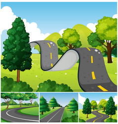 Four scenes of park with roads vector