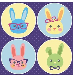 Funny bunny icons vector image vector image