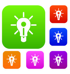 glowing light bulb set color collection vector image vector image