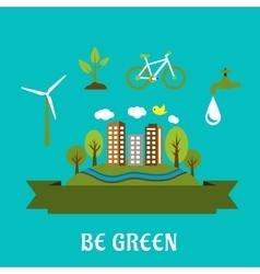 Green eco city flat design vector