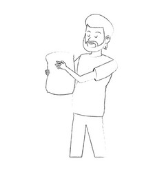 Happy bearded man carrying bag icon image vector