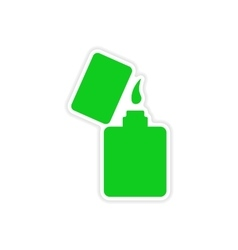 Icon sticker realistic design on paper lighter vector