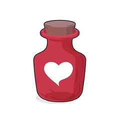 Magic red bottle of love potion symbol of heart vector