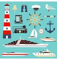 Nautical and marine icons design element sea vector image
