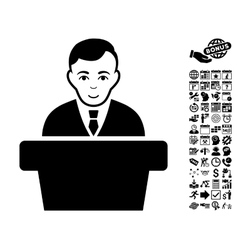 Politician flat icon with bonus vector