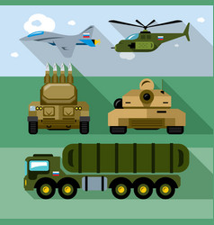 set of russian military army flat style vector image