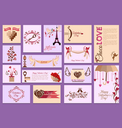 valentines day card love design heart card vector image