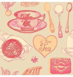 Vintage Love Tea Pattern vector image