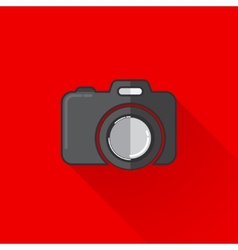 vintage of a camera in flat style with long shadow vector image