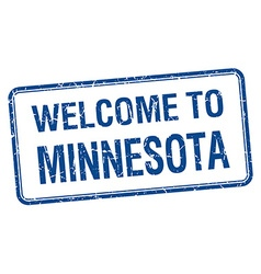 Welcome to minnesota blue grunge square stamp vector