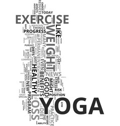 Yoga and weight loss text word cloud concept vector