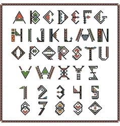 Native american indian font or mexican alphabet vector