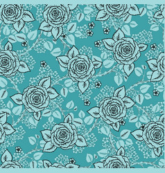 Vintage seamless pattern with garden roses on vector