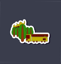 paper sticker on stylish background forest fire vector image