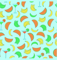 Seamless pattern with bananas and watermelons on vector