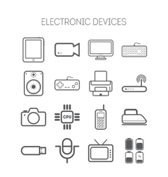 Set of simple flat icons with electric devices vector
