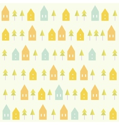 Houses and spruces pattern vector