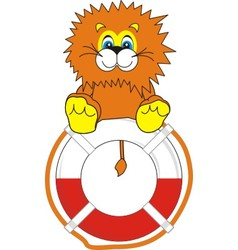 smiling little lion on life bu vector image