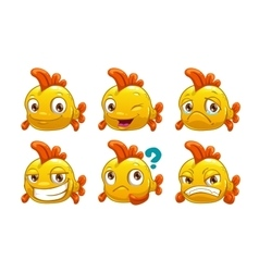 Funny cartoon yellow fish with different emotions vector
