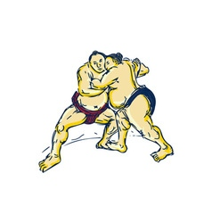 Japanese sumo wrestler wrestling drawing vector