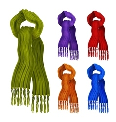 Knitted scarf color set vector