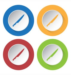 Set of four icons - kitchen knife vector