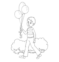Boy with balloons in hand vector