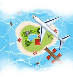 Aerial scene with airplane flying over island vector