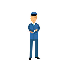 airline pilot in blue uniform standing with folded vector image vector image