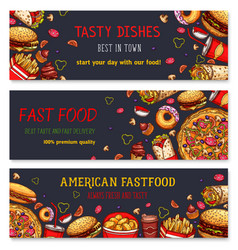 banners for fast food restaurant vector image vector image