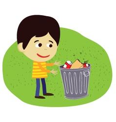 Boy disposing rubbish or garbage vector