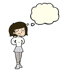 Cartoon pleased woman with thought bubble vector