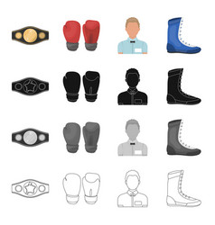 champion belt gloves for boxing referee in the vector image