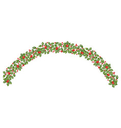 christmas holly branch border eps 10 vector image