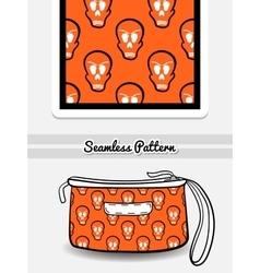 Cosmetic bag skulls vector