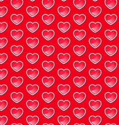 Cute shiny hearts seamless pattern with a red vector image vector image