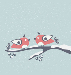 Cute winter birds tweeting on a branch of tree vector