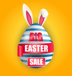 easter egg bunnies ears with red ribbon and sale vector image