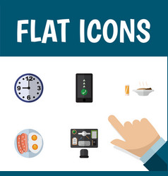Flat icon oneday set of fried egg cellphone vector