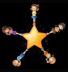 Girls standing on yellow star vector