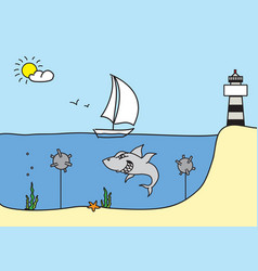hand drawn sketch with sailboat shark lighthouse vector image vector image