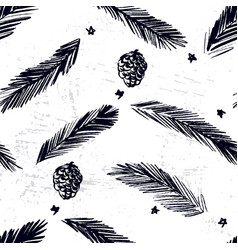 ink hand drawn christmas tree seamless pattern vector image