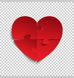 Jigsaw puzzle pieces in form of red heart vector