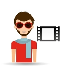 man hipster concept movie cinema film strip icon vector image vector image