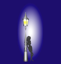 night lamp and girl vector image vector image