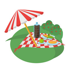 Picnic meadow umbrella meal vector