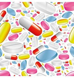 pills and capsules seamless pattern vector image vector image