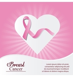 Ribbon heart breast cancer design vector