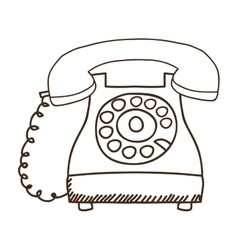Silhouette antique phone icon with cord vector