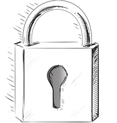 Sketch lock icon vector image